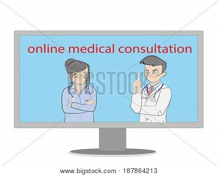Doctors through a computer give advice. Medical healthcare and medicine mobile consultant in uniform profession. Vector illustration