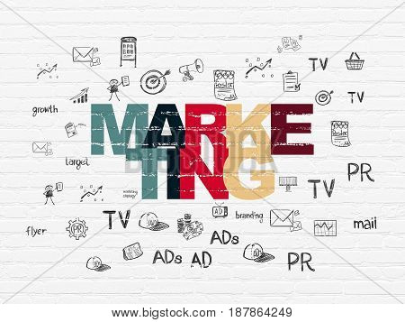 Marketing concept: Painted multicolor text Marketing on White Brick wall background with  Hand Drawn Marketing Icons