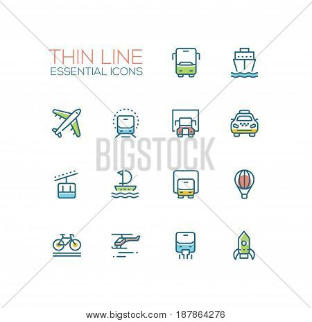 Transport - modern vector single thin line icons set. Bus, ship, plane, train, truck, taxi, tram, sailor, van, balloon, bicycle, helicopter, rocket