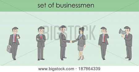 Set of business men in different poses. Hand drawn cartoon vector illustration for business design and infographics.