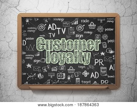 Advertising concept: Chalk Green text Customer Loyalty on School board background with  Hand Drawn Marketing Icons, 3D Rendering