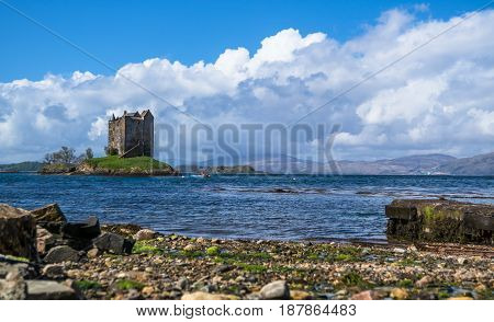 View of the Castle Stalker surrounded by water near Port Appin, Argyll, Scotland