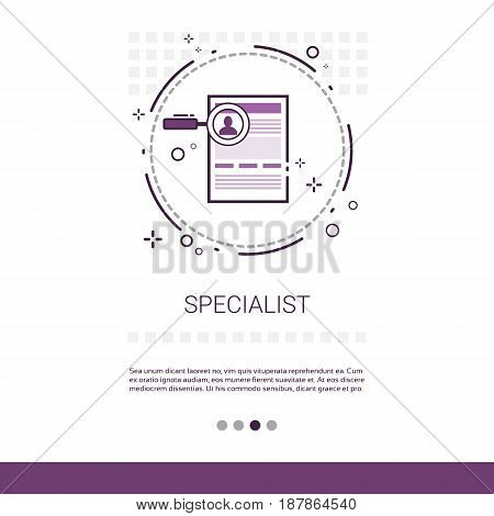 Specialist Candidate Vacancy Search Web Banner With Copy Space Vector Illustration
