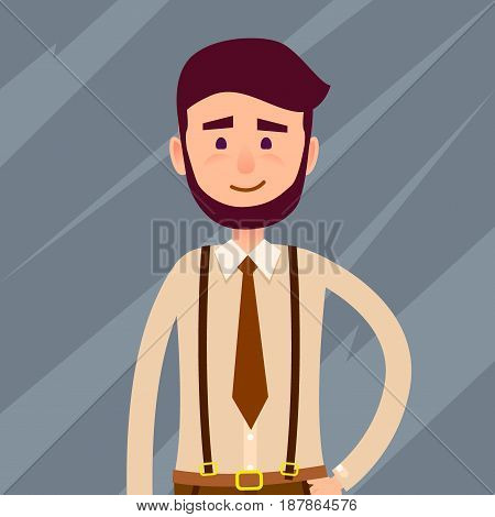 Young male cartoon character with beard and small smile in brown tie and trousers with suspenders isolated on dark background. Man from cropped foreshortening. Human model vector illustration.