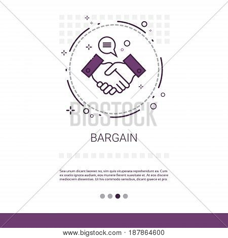 Bargain Hand Shake Agreement Deal Web Banner With Copy Space Vector Illustration