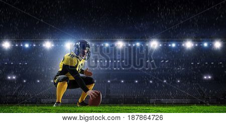 Center player with ball in hands. Mixed media