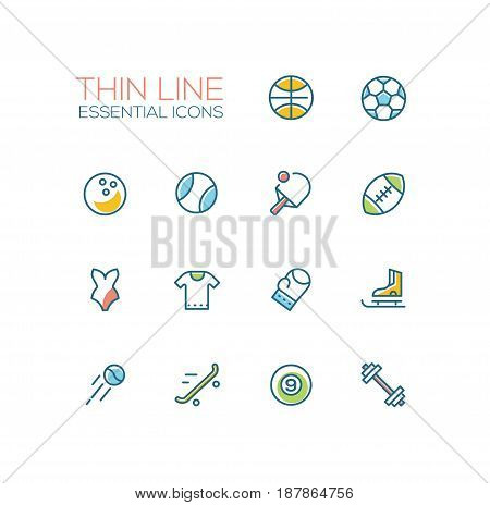 Kinds of sport - modern vector line design icons set. Basketball, football, bowling, baseball, ping-pong, rugby, swimming, t-shirt, boxing, skating, tennis skate boarding hockey weight lifting