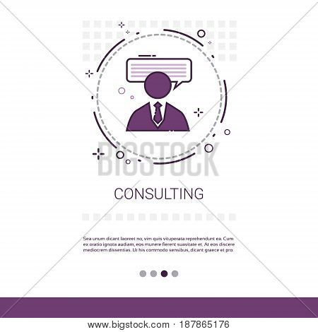 Seminar Consulting Help Business Support Web Banner With Copy Space Vector Illustration