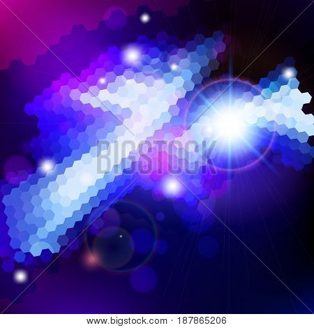 Abstract blue lens flare technology background. Vector illustration.