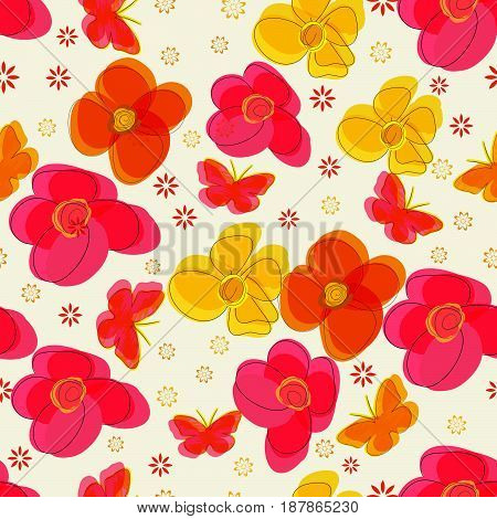 Simple vector seamless pattern with flowers and butterflies.