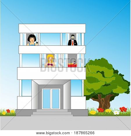 Small house with occupant on balcony and nature
