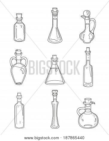 9 isolated doodle bottles. Sketchy hand drawn set of different kinds of bowls, jugs, vials, decanters with water or fluids. Outline icons of beverages in glass for kitchen, medicine, cosmetics needs.