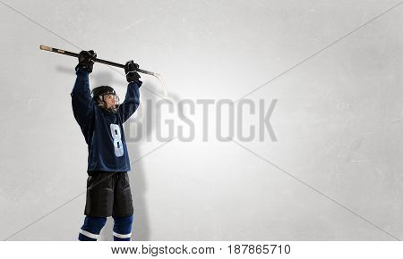 Hockey player and dynamics graph. Mixed media