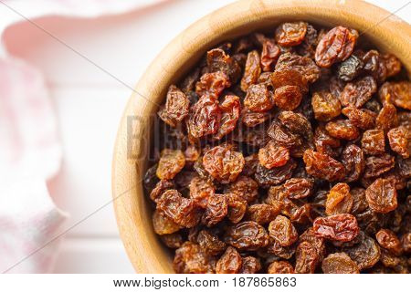 Sweet dried raisins. Top view.