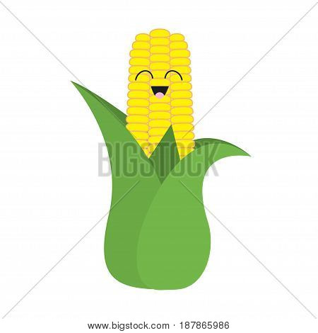 Corn cob ear with leaves icon. Yellow color. Vegetable collection. Fresh farm healthy food. Smiling face. Cute cartoon character. Education card. Flat design. White background. Isolated. Vector
