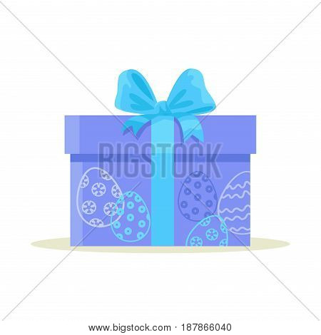 Happy Easter gift box isolated on white background. Big package wrapped in colorful blue paper with blue ornamental eggs and decorated with bow. Vector illustration of holiday present in cartoon style