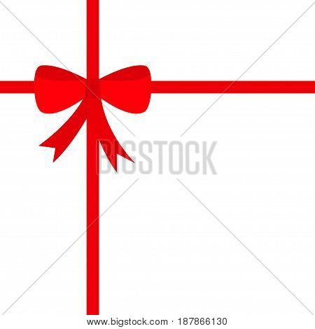 Red ribbon with Christmas bow icon. Gift box decoration element. Flat design. White background. Isolated. Vector illustration