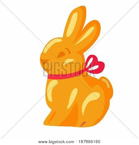 Orange chocolate bunny with pink ribbon drawn icon on white background. Vector illustration of sweet gifts on easter. Nice sweetness in form of holiday mascot. Festive emblem in cartoon style.