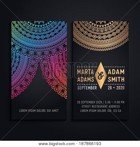 Vector business cards. Vintage decorative elements with mandala.