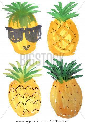 Cartoon doodle pineapples. Hand drawn marker illustration stickers design elements