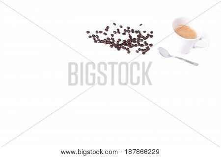 Simple coffee background roasted coffee beans cup of coffee and spoon isolated on white background espresso coffee time design for your coffee shop