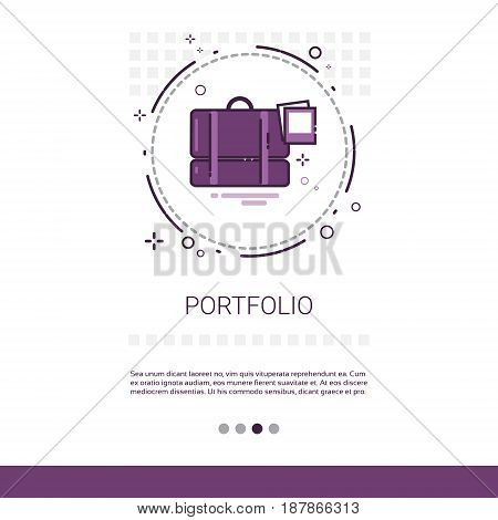 Portfolio Case With Document Contract Business Web Banner With Copy Space Vector Illustration