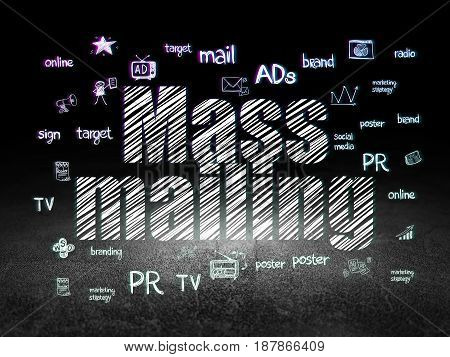 Marketing concept: Glowing text Mass Mailing,  Hand Drawn Marketing Icons in grunge dark room with Dirty Floor, black background