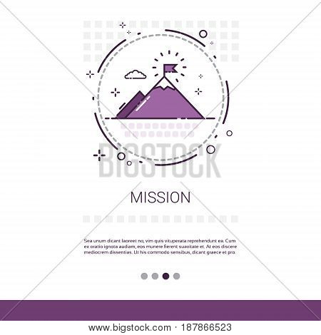 Mission Marketing Vision Business Targeting Web Banner With Copy Space Vector Illustration