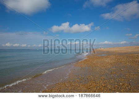 Hayling Island beach near Portsmouth south coast of Hampshire England UK