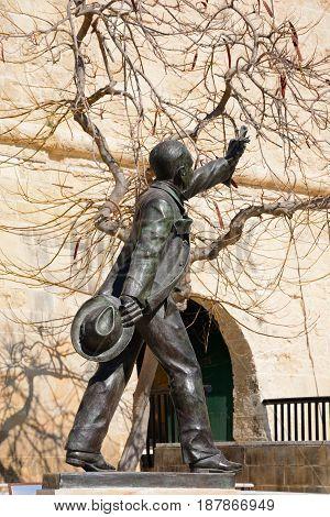 Manuel Dimech statue in Castille Square Valletta Malta Europe.