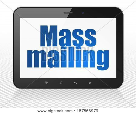 Marketing concept: Tablet Pc Computer with blue text Mass Mailing on display, 3D rendering