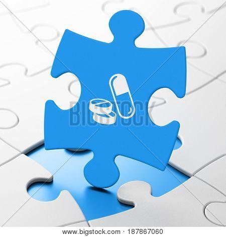 Healthcare concept: Pills on Blue puzzle pieces background, 3D rendering
