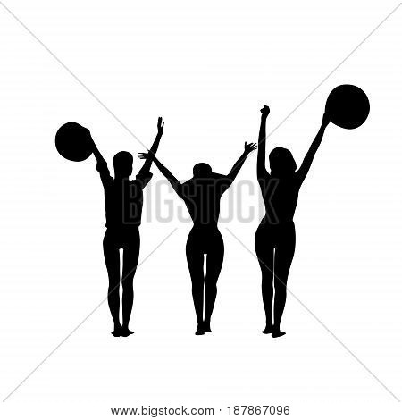 Black Silhouette Girls Group Cheerful Raised Hands Full Length Isolated Over White Background Happy Woman Holding Hats Flat Vector Illustration