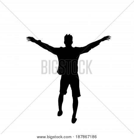 Black Silhouette Man Cheerful Raised Hands Full Length Isolated Over White Background Happy Guy Flat Vector Illustration