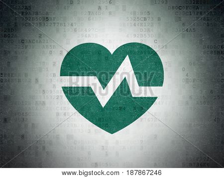 Medicine concept: Painted green Heart icon on Digital Data Paper background