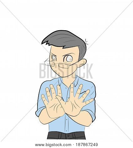The man puts his hands forward. Protest. Hand drawn cartoon vector illustration for medical design and infographics.
