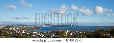 Torquay Devon coast and bay panoramic view England from Paignton