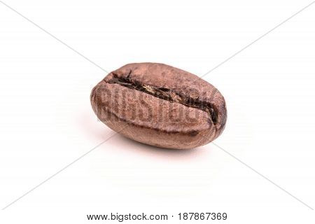 Roasted coffee bean isolated on white background close up
