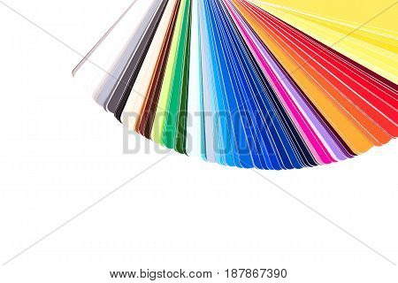 Color palette guide of paint samples color catalog isolated on white background