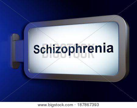 Health concept: Schizophrenia on advertising billboard background, 3D rendering