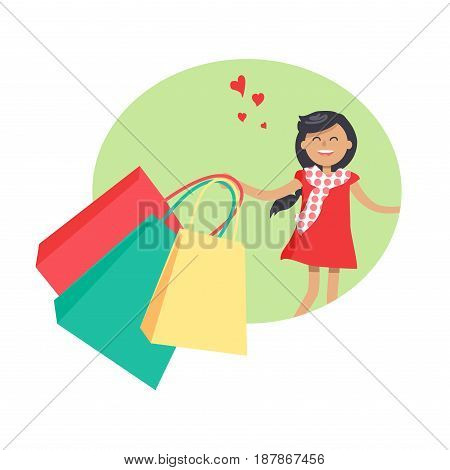 Purchasing template with smiling young girl holding red, green and yellow packages vector colorful illustration in flat design. Female person in ruddy dress and with small hearts signs in air