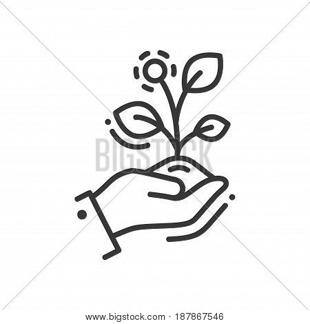 Life in seed - modern vector single line icon. A hand holding a growing plant that represent new life, striving and aspiring for the better future