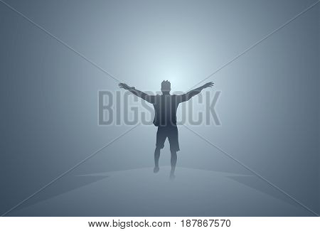 Black Silhouette Man Cheerful Raised Hands Full Length Isolated Happy Guy Flat Vector Illustration