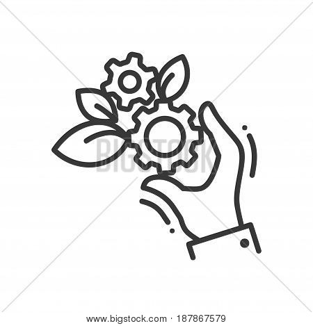 Gears of life - modern vector single line icon. A hand holding two gears that grow out leaves. Represent mechanism, life, fruitful, work and automatism.