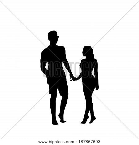 Black Silhouette Romantic Couple Holding Hands Full Length Isolated Over White Background Lovers Man And Woman Flat Vector Illustration