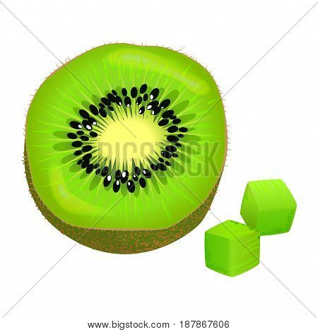 Sliced on half and diced kiwi. Ripe tropical fruit realistic vector isolated on white background. Fresh ingredient of vegetarian salad illustration for healthy food and natural nutrition concepts