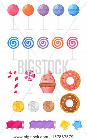 Tasty sweets set of vector illustrations. Colorful lollipops, delicious donuts, creamy cupcake and small candies isolated on white background. Yummy treats with bright attractive design collection.