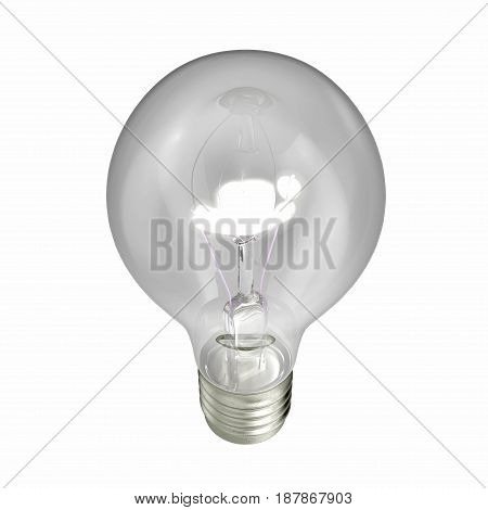 Glowing light bulb isolated on white background. 3D illustration
