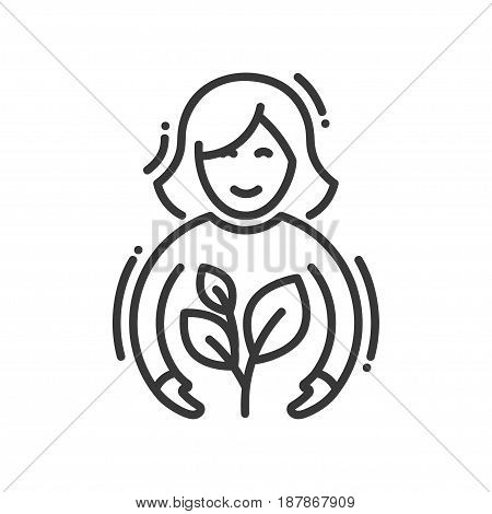 Planting- modern vector single line icon. An image of a person doing a plantation of a flower. Representation of care, life, prosperity, safety, future, ecology, health