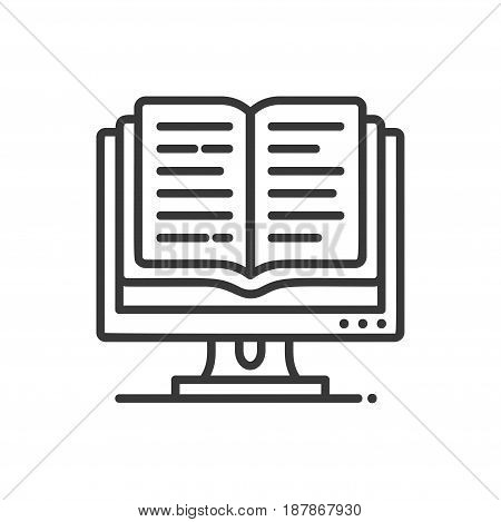 Online education - modern vector single line icon. An image of a book coming out of a computer monitor. Representation of knowledge, technology, understanding, reading, editing.